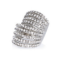 Silver tone crystal encrusted ring