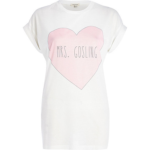 White Mrs.Gosling print oversized t-shirt