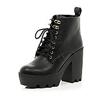 Black lace up cleated sole boots
