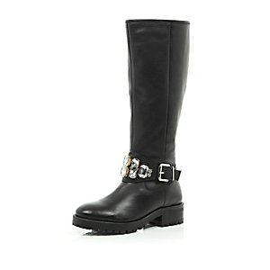 Black leather embellished knee high boots