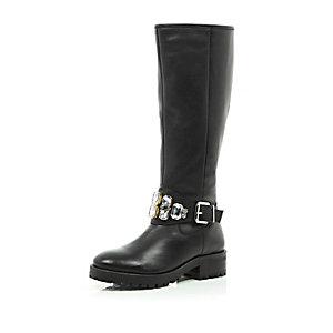 Black leather embellished knee high boots