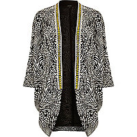 Black animal print embellished neck kimono