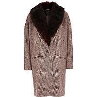 Dark red herringbone faux fur oversized coat