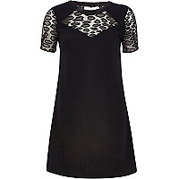 Black printed lace panel shift dress