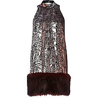 Dark red jacquard faux fur hem shift dress
