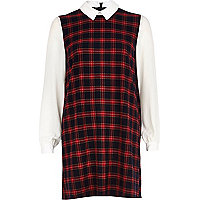 Red check contrast sleeve shift dress