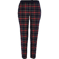 Navy check slim cigarette pants