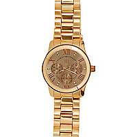 Gold tone oversized bracelet watch