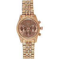Gold tone rose face bracelet watch
