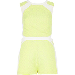 Lime patterned cut out back playsuit