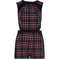 Navy tartan cut out smart playsuit