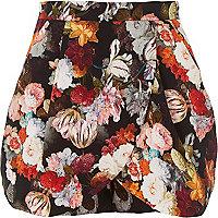 Black floral skort