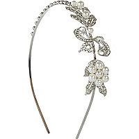 Silver tone diamante and pearl head band