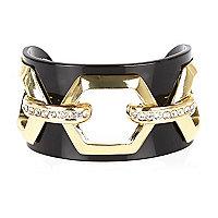 Black hexagonal cut out cuff
