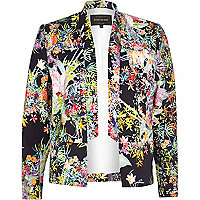 Navy floral print inverted collar blazer