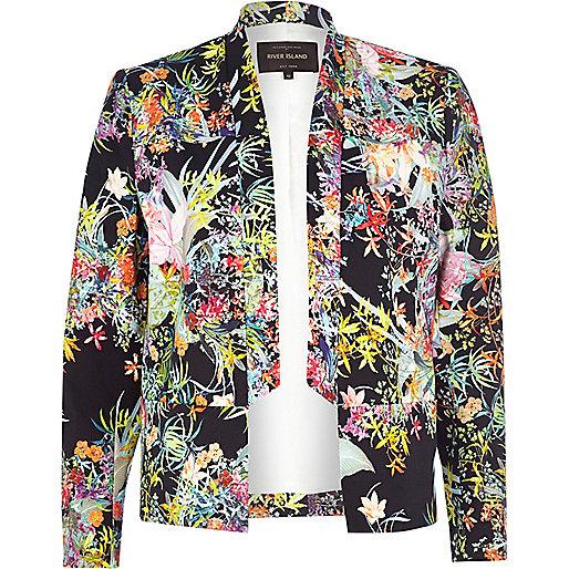 Navy floral print inverted collar blazer