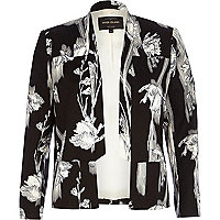 Black floral print inverted collar blazer
