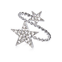 Silver tone diamante star wrapped ring