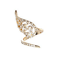 Gold tone diamante encrusted wrapped ring