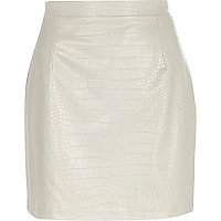 Grey mock croc leather look mini skirt