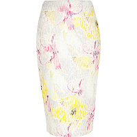 Yellow floral tube skirt