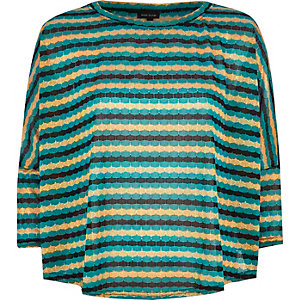 Green knitted stripe top