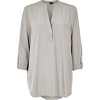 Grey collarless longer length shirt