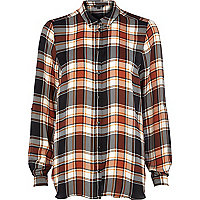 Brown check print long sleeve shirt