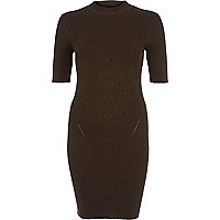 Khaki ribbed knitted dress