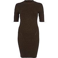 Khaki ribbed knitted dress