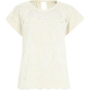 White short sleeve lace t-shirt
