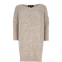 Beige boucle knit dress