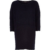 Navy boucle knit dress