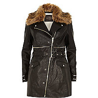 Black leather-look faux fur long biker jacket