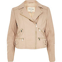 Pink leather-look zip pocket biker jacket