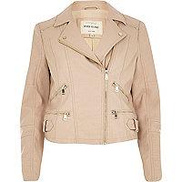 Pink leather-look zip pocket biker jacket
