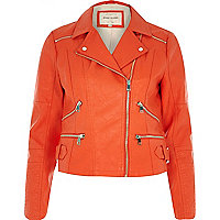 Red tangerine leather-look zip biker jacket