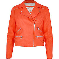 Fluro orange leather-look zip biker jacket