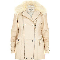 Cream leather-look faux fur collar jacket