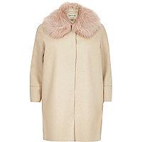 Cream faux fur trim cocoon coat