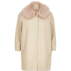 Cream faux fur trim leather-look cocoon coat