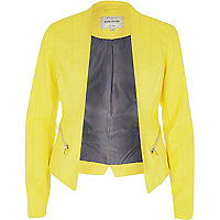 Yellow leather-look fitted jacket