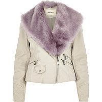 Cream faux fur collar biker jacket