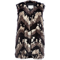 Grey chevron faux fur gilet