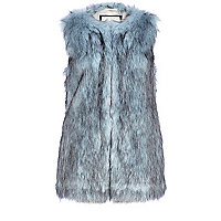 Light blue faux fur gilet
