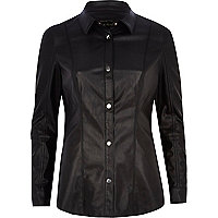 Black leather-look long sleeve shirt