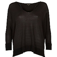 Black split back jumper
