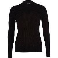 Black ribbed high neck jumper
