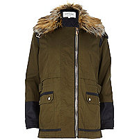 Khaki leather-look sleeve parka jacket