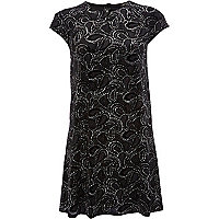 Black glitter paisley print swing dress
